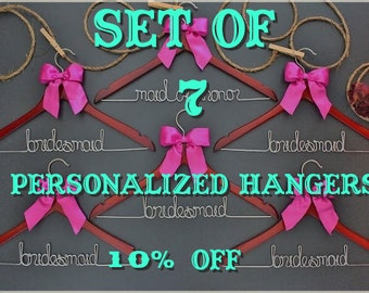 Set of 7 personalized hangers - perfect for bridal party