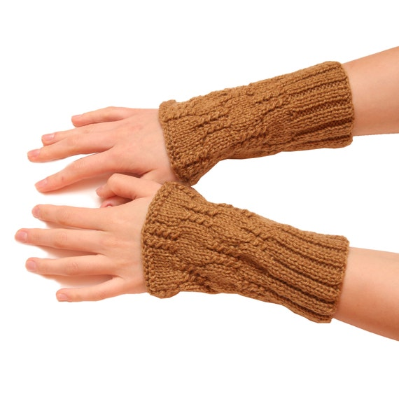 Brown women gloves - warm mittens women fingerless, brown glove, knitted fingerless, mittens for women, fingerless knit gloves, mittens