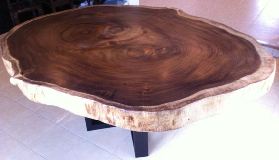 Live edge dining table reclaimed acacia wood large round rare for Large round wood table