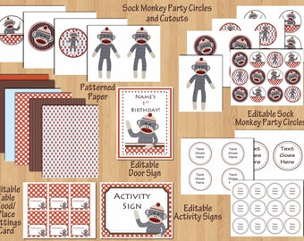 1st birthday party package Sock Monkey Birthday Party Sock Monkey Party Printout Sock Monkey Printable Boy Party DIY Editable WORD Files PDF
