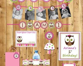 Owl Birthday Party Package Girl or Boy Look Whoos turning 1 Owl - thank you tags, 3 banners, water bottle labels - (DIY Printable)