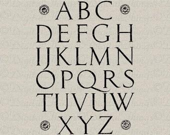 Renaissance Vintage Alphabet Letters Art Wall Decor Art  Printable Digital Download for Iron on Transfer Fabric Pillows Tea Towels DT498