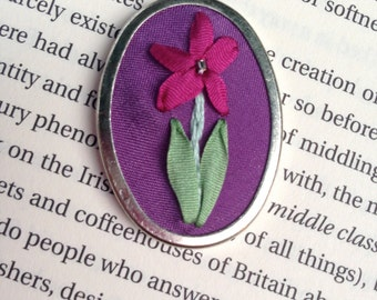 ON SALE Embroidered pendant, Magenta and purple flower, handmade and beaded- Silk Ribbon Embroidery by BeanTown Embroidery
