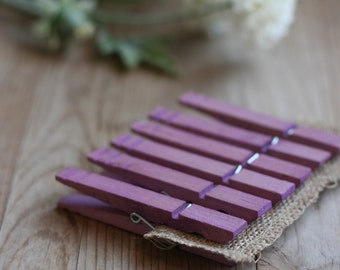 LaRgE hand stained wood clothespins, PuRpLe, rustic wedding favor, vintage style wedding favor, baby shower favor