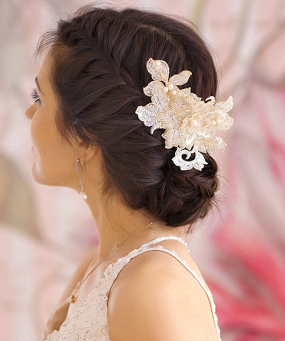 Floral Lace Headpiece For Wedding: Floral Bridal Lace Headpiece Bridal By FancyBOWtiqueBridal