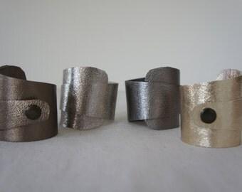 Wide Cuff -Wrist Wrap -  Metallic Leather - Bronze, vintage silver, gun metal, pale gold