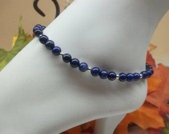 Blue Lapis Ankle Bracelet Blue Lapis Anklet Blue Anklet Summer jewelry Adjustable Ankle Bracelet 925 Sterling Silver Anklet BuyAny3+Get1Free