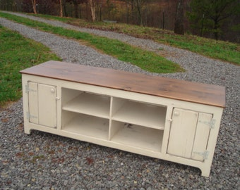 Primitive Media Center, Rustic tv Stand, Media Cabinet