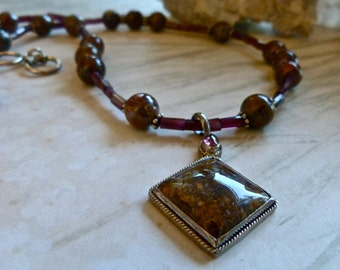 Gorgeous Garnet Pietersite Pendant Necklace - Elegant Artisan Gemstone Necklace