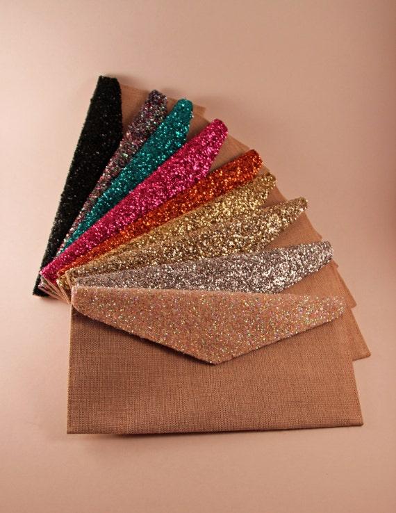 SALE Copper Glitter Envelope Clutch
