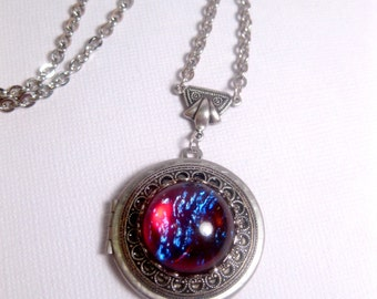 Dragons Breath Locket - Opal Necklace - Geekery - Galaxy Locket Necklace