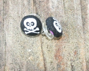 Halloween Skull and Cross Bones Button Earrings