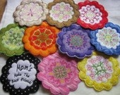 ITH Floral Coasters Machine Applique Embroidery Design - 4x4