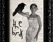Alfred Hitchcock - The Birds Movie - Halloween Geekery - Vintage Dictionary Print Vintage Book Print Page Art Upcycled Book Art