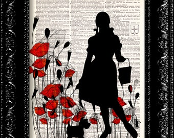 Wizard Of Oz Dorothy Poppy Field - Frank Baum - Dictionary Print Vintage Book Print Page Art Upcycled Vintage Book Art