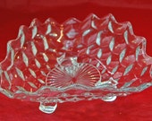 Vintage FOSTORIA AMERICAN TRIANGULAR Pattern Depression Glass Bowl or Candy Dish, Ca 1940s, Excellent Condition -