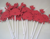 12 red Crab cupcake toppers