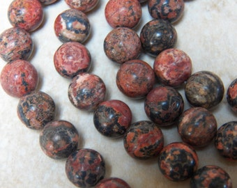 10mm Red Leopardskin Jasper Gemstone Beads, Half Strand (INDOC82)