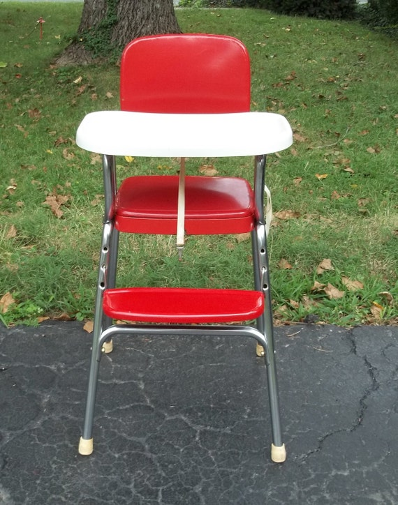 Vintage 1950s Cosco High Chair in Red Vinyl and Chrome White