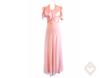 30s vintage silk formal gown with bolero // Beacon of Beauty // Size XS