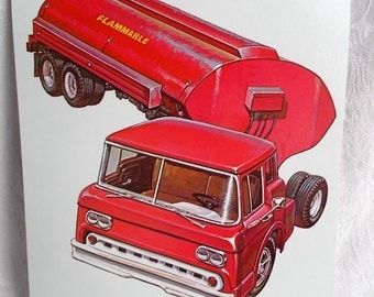 Large Picture Flash Card Tanker Truck Vehicle Vintage 1965 Peabody Language Card Paper Ephemera DIY Project Supply US Shipping Included