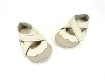 Lambswool lined handmade leather baby shoes cream and beige