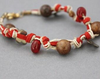 red suede bracelet leather and hemp knotted bracelet beaded bracelet brass wood bone bohemian bracelet indie bracelet