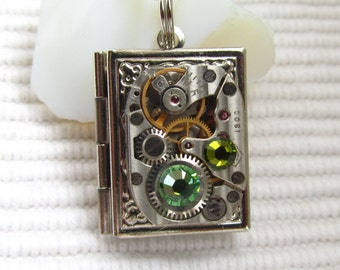 Steampunk book locket necklace with vintage watch  movement and Swarovski crystals, Gift for Her, silver locket necklace, photo locket