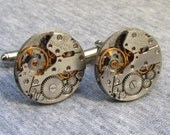 Steampunk Jewelry, Steampunk Cufflinks - with small round vintage watch movements. Vintage upcycled mens Cuff Links,Gift under 25 Dollars