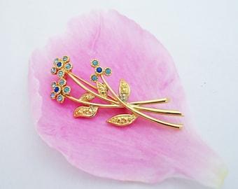 Vintage Movitex Blue Rhinestone Flower Brooch Pin, UK Seller