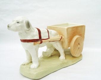 Vintage Ceramic/Porcelain Dog with Cart Planter, Czhechoslovakia Vintage, UK Seller