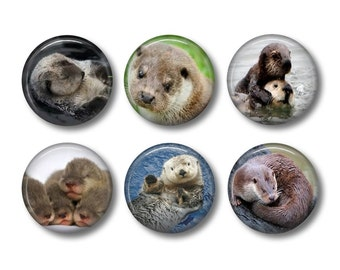 Otter pinback button badges or fridge magnets
