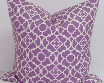 THROW PILLOW sham / cover 18x18 Lavender Purple geometric lattice print