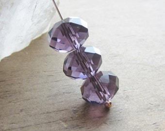 Crystal Rondelle Bead Violet 12mm x 9mm QTY 12