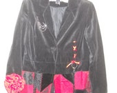 CLEARANCE Upcycled Black & Red velvet  jacket / hat  steampunk gothic victorian costume