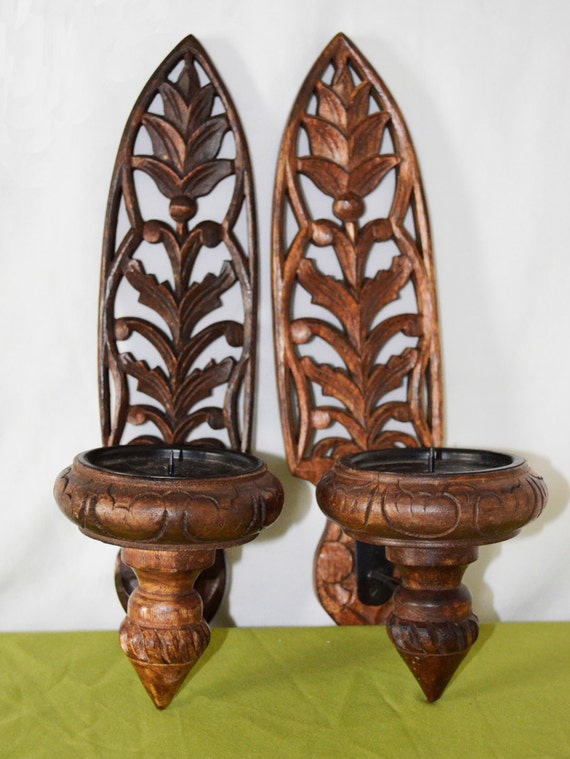 Wall Sconces At Pier One : Vintage 1980 s Wooden Boho Pier One Wall Sconces with Tall