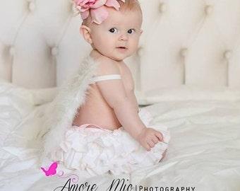 Beautiful Parley Ray Baby Girls Ruffle Skirt White and Light Pink all around Ruffled Skirt Baby Bloomers/ Diaper Cover / Photo Props
