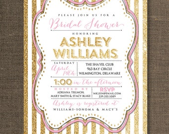 Pink & Gold Glitter Bridal Shower Invitation Pastel Sparkly Striped Shabby Chic Invite FREE PRIORITY SHIPPING or DiY Printable - Ashley