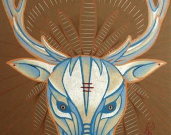 blue elk art, totem art, spirit animal, hi-res digital download