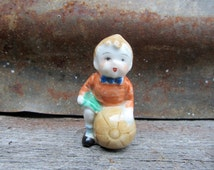 Vintage Occupied or Signed JAPAN Miniature Statue Collectible Figure Boy holding a Ball