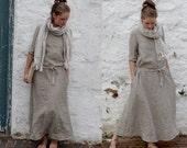 Natural Linen Trapeze Dress. Maxi