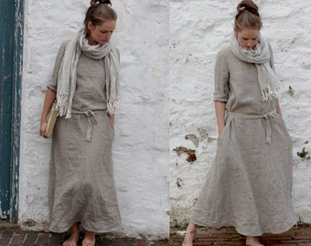 Natural Linen Trapeze Dress. Maxi
