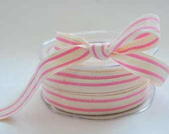 Cotton natural and pink stripe ribbon, 1m (1.1yard)