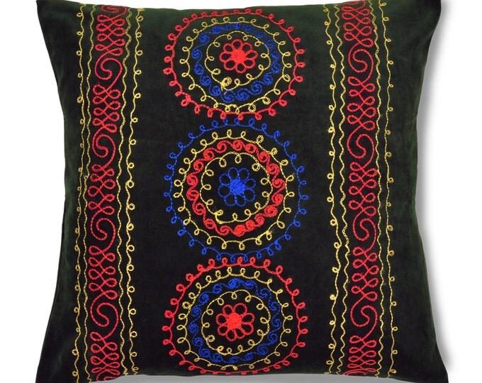 "Dew of Denau, 19"" Patduzi Velvet Pillow Cover - 4066"