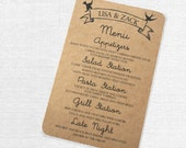 Kraft Paper Menu Card with Modern Birds, Romantic and Rustic, Script Font
