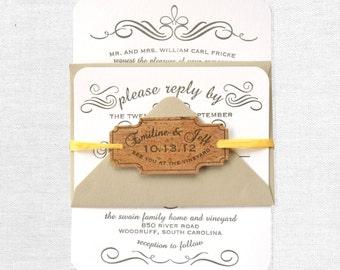 Vintage Calligraphy Vineyard Letterpress Wedding Invitation, Grey, White, Kraft Paper, Cork, Rustic
