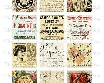 Vintage French Ephemera 2 inch Squares Printable Digital Collage Sheet