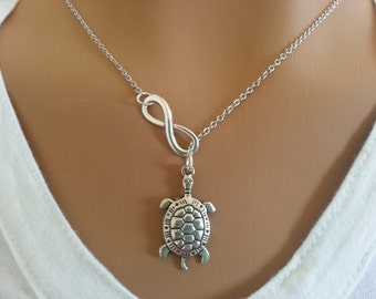Lariat Style Infinity And Turtle Necklace