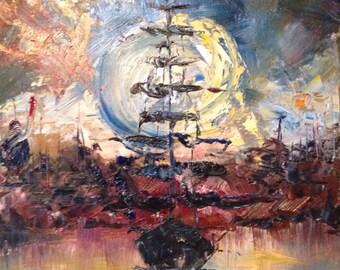 Sunset, Original Oil Painting
