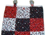 Patriotic Quilted Tote Bag - Patchwork - Red, White, and Blue with Stars, purse with clear handles.